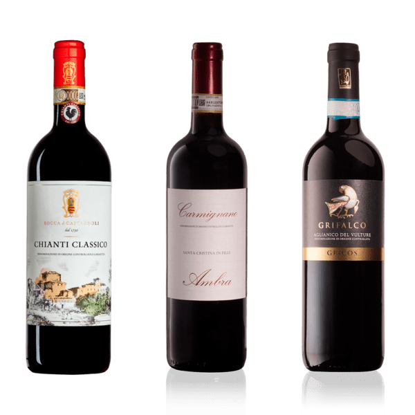 Smagekasse med 3 glas i Gambero Rosso, 3 x 2 fl.